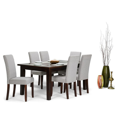 Cloud Grey Linen Look Polyester Fabric | Acadian 7 Piece Dining Set