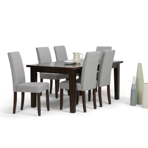 Dove Grey Linen Look Polyester Fabric | Acadian 7 Piece Dining Set