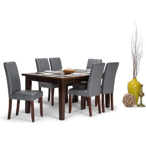 Stone Grey PU Faux Leather | Acadian 7 Piece Dining Set