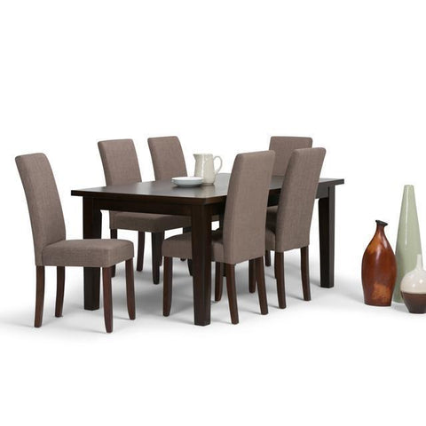 Light Mocha Linen Look Polyester Fabric | Acadian 7 Piece Dining Set