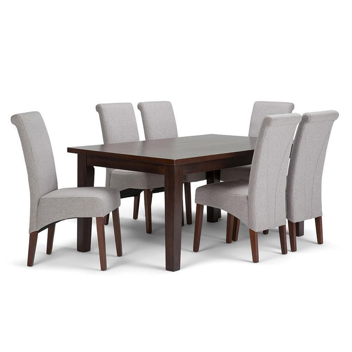 Cloud Grey Linen Look Polyester Fabric | Avalon Large 7 piece Dining Set