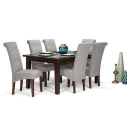 Cloud Grey Linen Look Polyester Fabric | Cosmopolitan Large 7 piece Dining Set