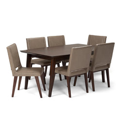 Ash Blonde PU Faux Leather | Draper Mid Century 7 piece Dining Set