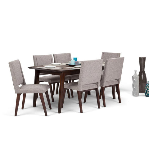 Grey Linen Look Polyester Fabric | Draper Mid Century 7 piece Dining Set
