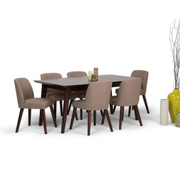 Emery Mid Century 7 Piece Dining Set in Fawn Brown