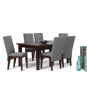 Jennings 7 Piece Dining Set in Grey Linen Look Fabric