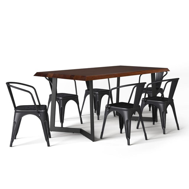 Load image into Gallery viewer, Distressed Black and Silver | Larkin IV 7 Piece Dining Set