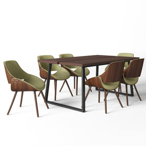 7 Piece Set Acid Green | Malden II 7 Piece Dining Set with Bentwood Chair Back