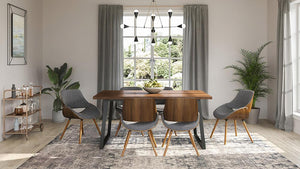 7 Piece Set Grey and Natural | Malden II 7 Piece Dining Set with Bentwood Chair Back