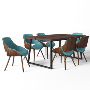 7 Piece Set Turquoise Blue | Malden II 7 Piece Dining Set with Bentwood Chair Back
