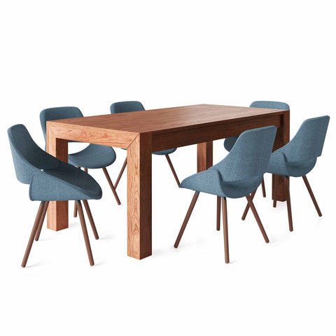 7 Piece Set Denim Blue | Malden III 7 Piece Dining Set