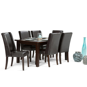 Tanners Brown PU Faux Leather | Sotherby Large 7 piece Dining Set