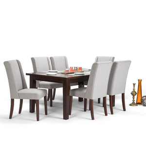 Cloud Grey Linen Look Polyester Fabric | Sotherby Large 7 piece Dining Set