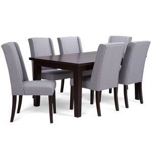 Dove Grey Linen Look Polyester Fabric | Sotherby Large 7 piece Dining Set