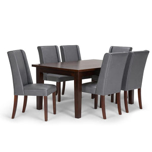Stone Grey PU Faux Leather | Sotherby Large 7 piece Dining Set