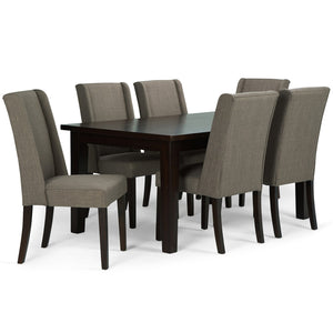 Light Mocha Linen Look Polyester Fabric | Sotherby Large 7 piece Dining Set