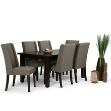 Load image into Gallery viewer, Light Mocha Linen Look Polyester Fabric | Sotherby Large 7 piece Dining Set