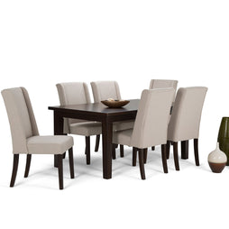 Natural Linen Look Polyester Fabric | Sotherby Large 7 piece Dining Set