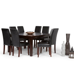 Midnight Black PU Faux Leather | Acadian Large 9 piece Dining Set