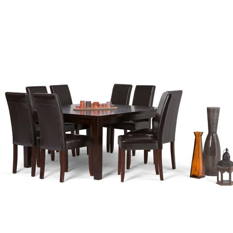 Tanners Brown PU Faux Leather | Acadian Large 9 piece Dining Set