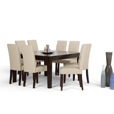 Satin Cream PU Faux Leather | Acadian Large 9 piece Dining Set