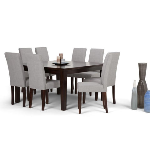 Dove Grey Linen Linen Look Polyester Fabric | Acadian Large 9 piece Dining Set