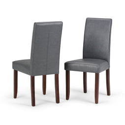 Stone Grey PU Faux Leather | Acadian Linen Look Fabric Parson Dining Chair (Set of 2)