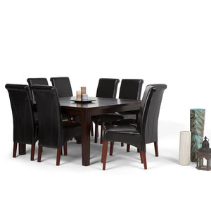 Midnight Black PU Faux Leather | Avalon Large 9 piece Dining Set