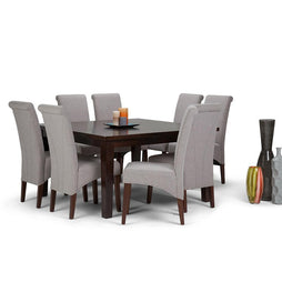 Cloud Grey Linen Look Polyester Fabric | Avalon Large 9 piece Dining Set