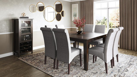 Dover Grey Linen Linen Look Polyester Fabric | Avalon Large 9 piece Dining Set