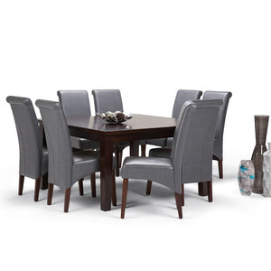 Stone Grey PU Faux Leather | Avalon Large 9 piece Dining Set