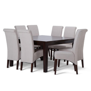 Light Beige Linen Look Polyester Fabric | Avalon Large 9 piece Dining Set