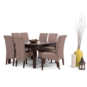 Light Mocha Linen Look Polyester Fabric | Avalon Large 9 piece Dining Set