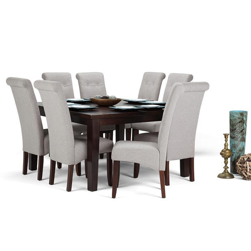 Cloud Grey Linen Look Polyester Fabric | Cosmopolitan Large 9 piece Dining Set