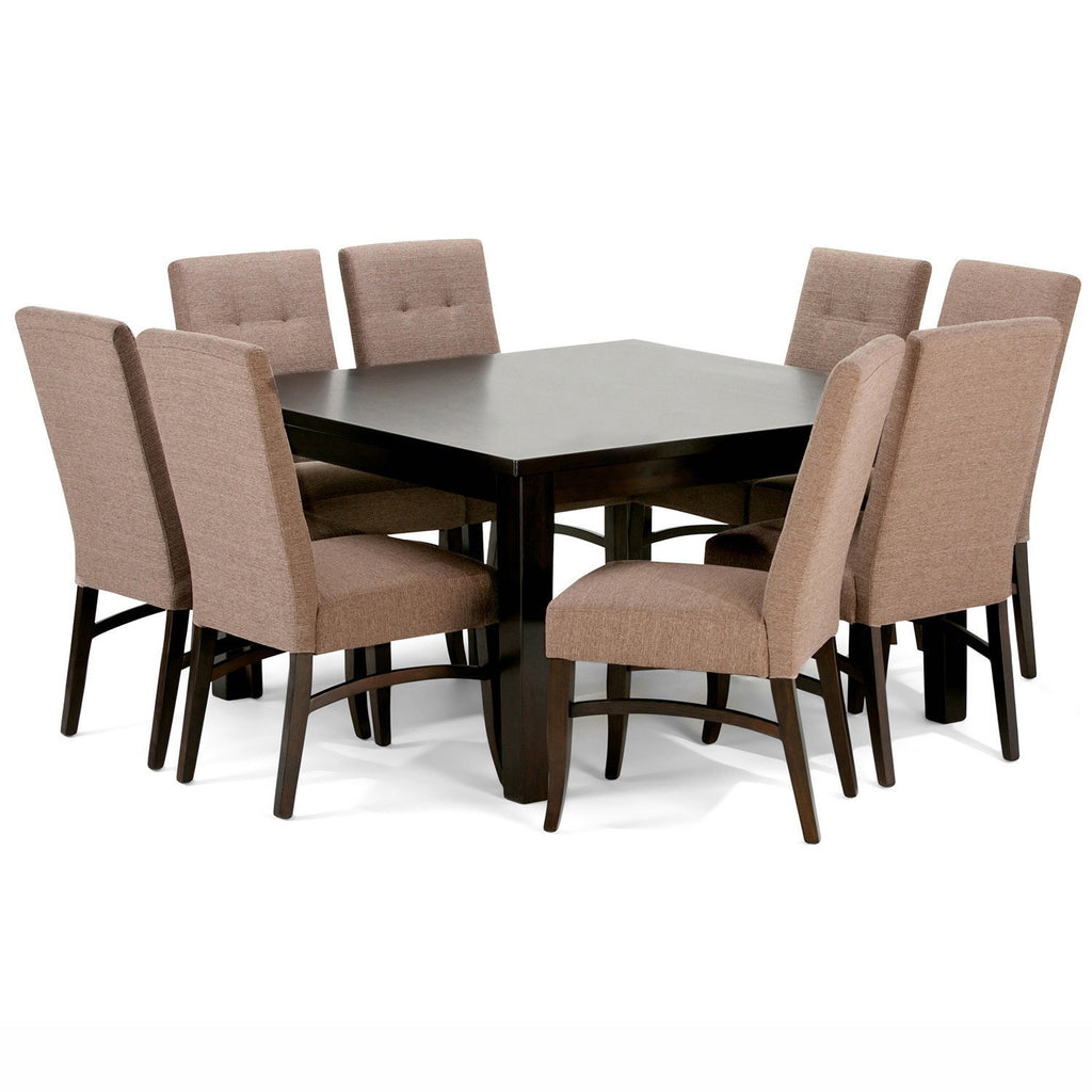 Ezra Large 9 Piece Dining Set In Fawn Brown Linen