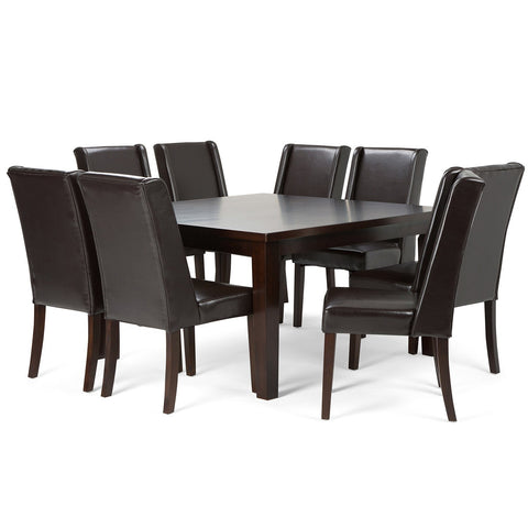 Tanners Brown PU Faux Leather | Sotherby 9 piece Dining Set