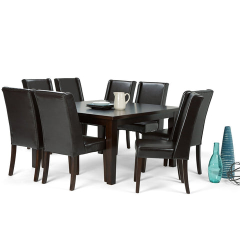 Tanners Brown PU Faux Leather | Sotherby Large 9 piece Dining Set