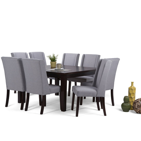Dove Grey Linen Look Polyester Fabric | Sotherby 9 piece Dining Set