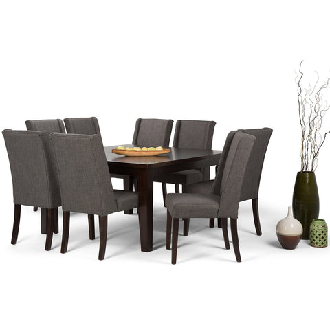 Slate Grey Linen Look Polyester Fabric | Sotherby 9 piece Dining Set