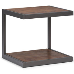 Erina Solid Acacia End Side Table in Rustic Natural Aged Brown