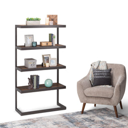 Erina Solid Acacia Bookcase in Rustic Natural Aged Brown