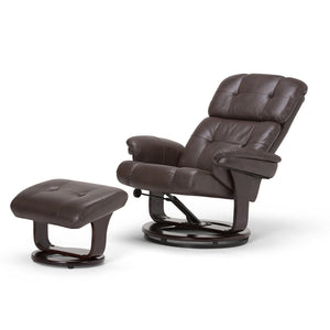 Merrin Faux Air Leather Euro Recliner in Brown