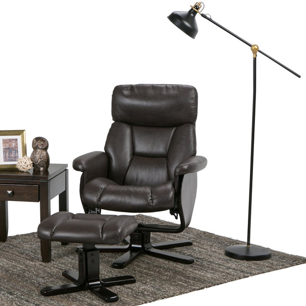 Whitman Air Faux Leather Euro Recliner In Brown Simpli Home