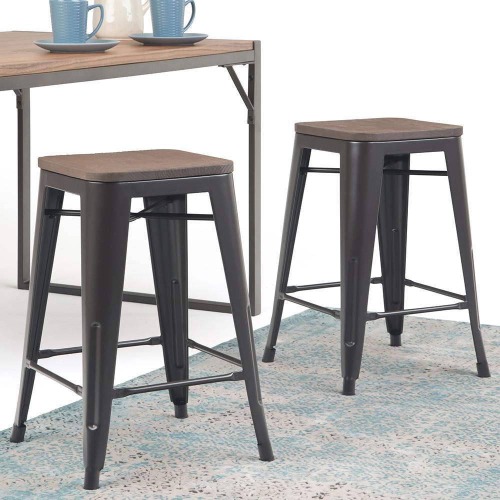 Awe Inspiring Everett 24 Inch Metal Counter Stool With Wood Set Of 2 Squirreltailoven Fun Painted Chair Ideas Images Squirreltailovenorg