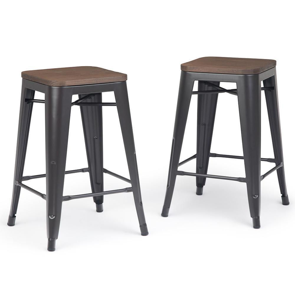 Fantastic Everett 24 Inch Metal Counter Stool With Wood Set Of 2 Caraccident5 Cool Chair Designs And Ideas Caraccident5Info