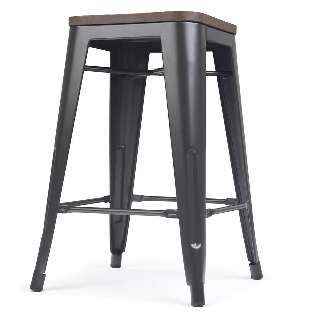 Everett 24 Inch Metal Counter Stool With Wood Set Of 2 Simpli Home