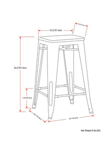 Everett 24 inch Metal Counter Stool with Wood (Set of 2)