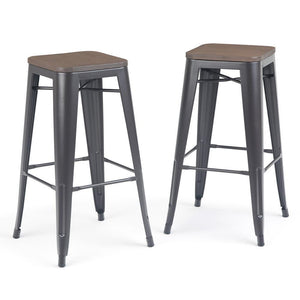 Everett 30 inch Metal Bar Stool with Wood (Set of 2)