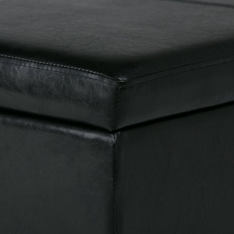 Midnight Black PU Faux Leather | Avalon Faux Leather Storage Ottoman