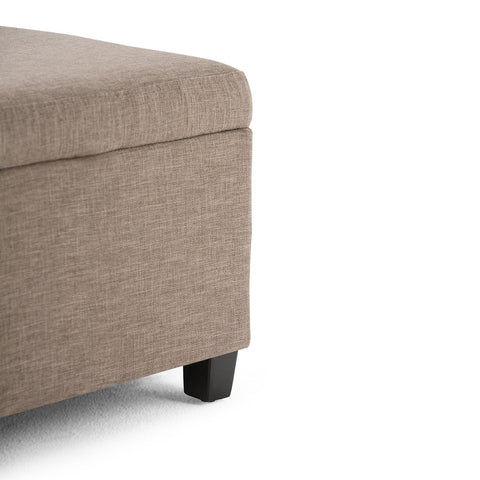 Fawn Brown Linen Look Polyester Fabric | Avalon Faux Leather Storage Ottoman